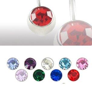 Titan Piercing Kugel 90 grad mit kristall