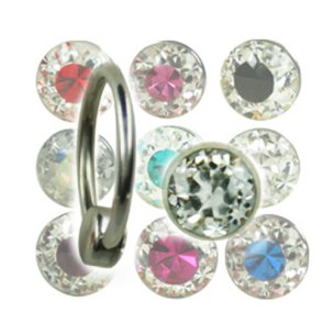 1,6mm Piercing Ring mit 2-farbiger 4mm Epoxy Multistrass...