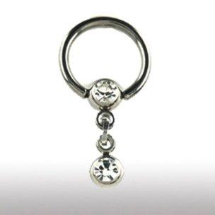 Brustwarzen Piercing Titan Ring mit Kette und Glitzer