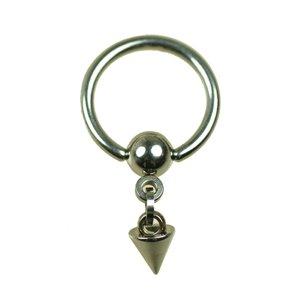 Ohrpiercing Ring mit Kette Kugel und Spitze