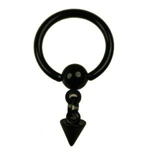 Ohrpiercing Schwarz Ring mit Spitze