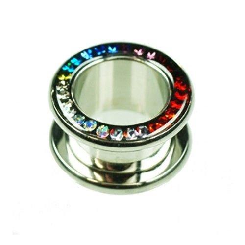 flesh tunnel mit Kristalle Multifarbe Regenbogen