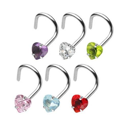 nostril piercing ring Herz mit Glitzer