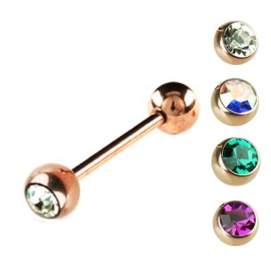 Zungenpiercing Schmuck Rosegold mit große glitzersteine