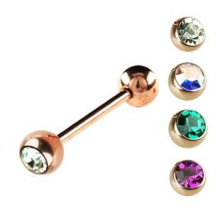 barbell Piercing Rosegold mit glitzersteine