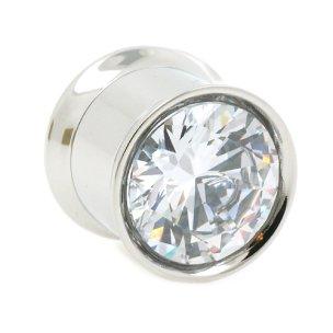 Großer Kristall Silber Flesh Tunnel Ohr Piercing viele Farben