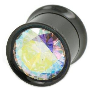 Großer Kristall Schwarz Flesh Tunnel Ohr Piercing