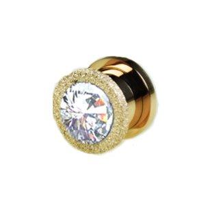 Ohr Tunnel Kristall Gold mit Glitzer Diamant Optik