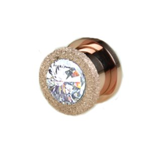 Ohr Tunnel kristall Rosegold mit Glitzer Diamant Optik