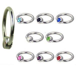 Lippenbändchen Piercing Ring mit Glitzer 1mm Stärke