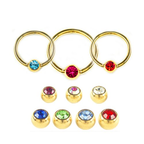 1,0mm Gold  Ring 4mm Kristall