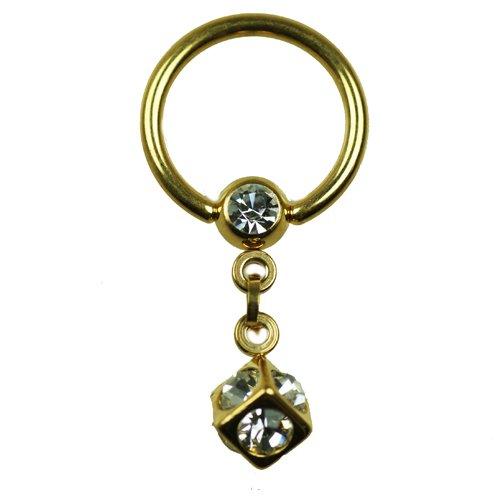 Ohr Piercing Würfel Gold Ring mit kette und Glitzer