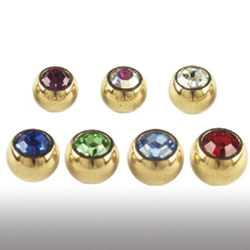 3mm Gold Piercing Kugel mit Kristall Set 1,2mm 5 Stück