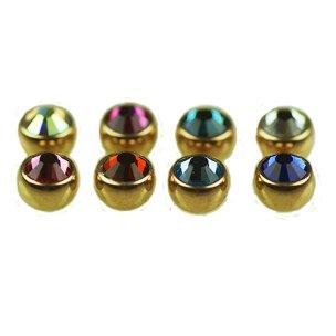 3mm Gold Piercing Kugel mit Kristall Set 1,6mm 5 Stück