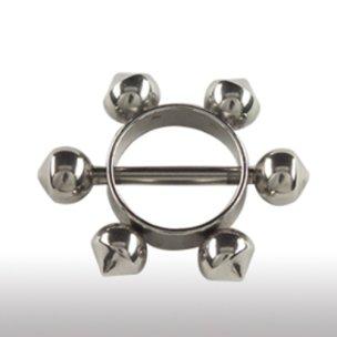 Brust Piercing Stab mit Ring und Kugeln