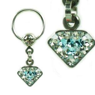 Intimpiercing Diamant mit Kristall und Anhänger