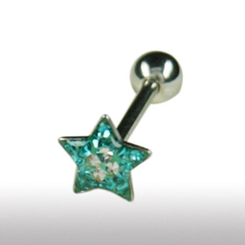 Zungenpiercing Stern mit Strasssteine Epoxidharz