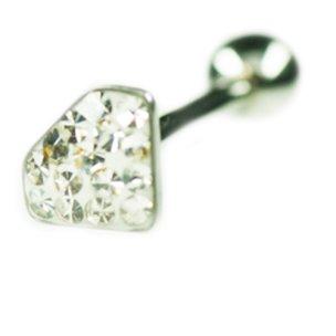 Zungenpiercing diamant mit Multi Strasssteine
