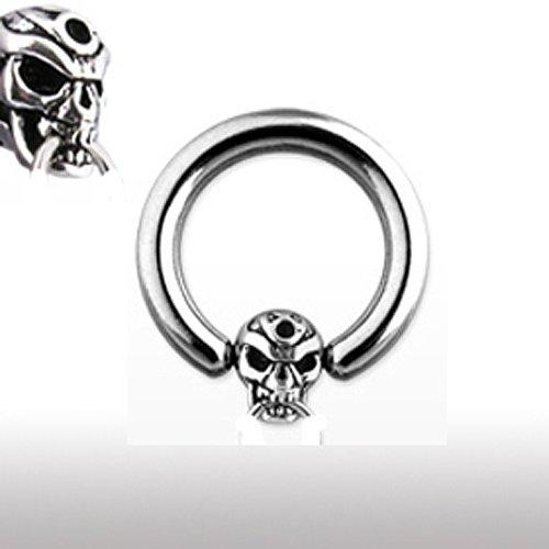 Ohrpiercing Ring mit Totenkopf
