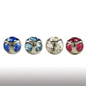 4mm piercing Kugel mit 5 Kristallen 1,2mm gewinde
