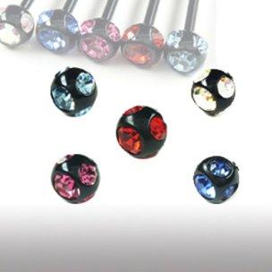 3mm Schwarz piercing Kugel mit 5 Kristallen 1,2mm gewinde
