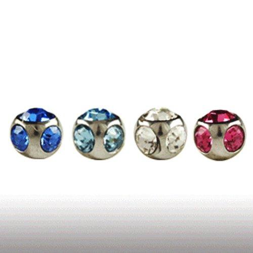 4mm piercing Kugel mit 5 Kristallen 1,6mm gewinde