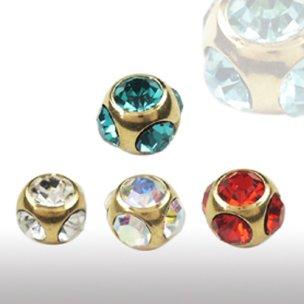 5mm gold piercing Kugel mit 5 Kristallen 1,6mm gewinde