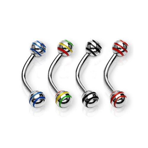 piercing für augenbraue mit bunte Streifen