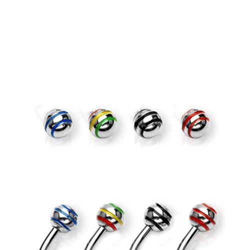 Piercing Kugel mit bunte Streifen