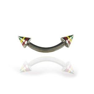 Piercing bridge mit Spitzen bunte Streifen