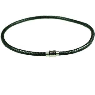 schwarz leder halsbandmit magnetverschluss