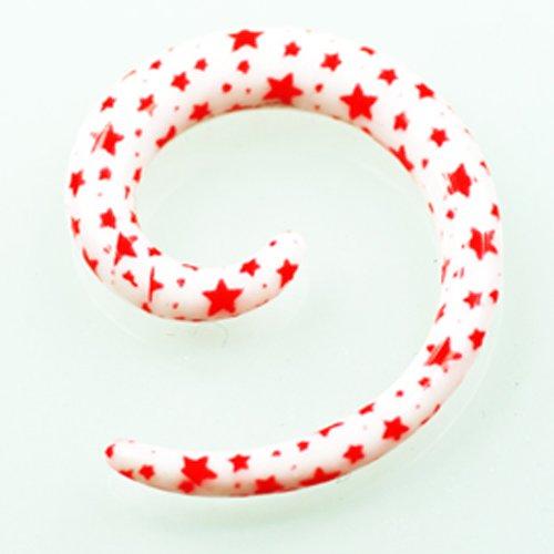 Sterne Weiß Rot Dehnschnecke 3-6mm