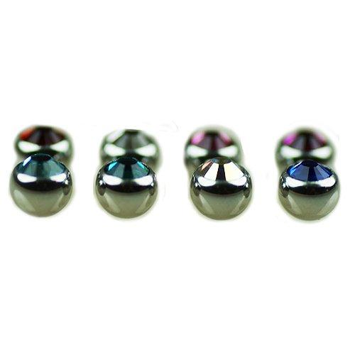 4mm Piercing Kugel mit kristall 1,2mm gewinde