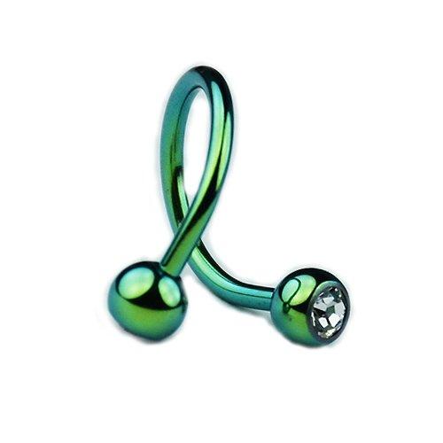 spirale piercing helix grün mit Glitzer