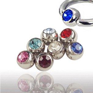 3mm Piercing Kugel mit Kristall für Klemmring