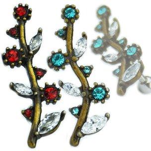 Bronze Zweig Blätter Blumen mit Kristallen Ohr Helix...
