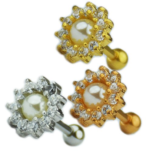 Rose Gold Silber Blume mit Perle Ohr Helix Stecker