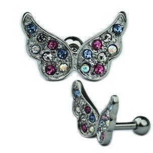 Schmetterling Flügel mit bunten Kristallen Ohr Helix...
