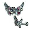 Schmetterling Flügel mit bunten Kristallen Ohr Helix Stecker