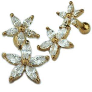 2 Blumen mit Kristallen Ohr Helix Stecker Rosegold Silber