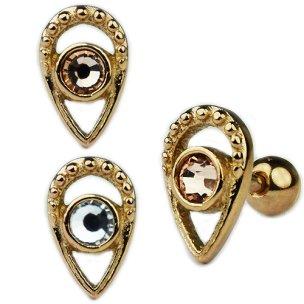 Tropfen mit Kristall Ohr Helix Piercing Stecker Rose Gold...