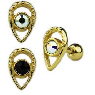 Tropfen mit Kristall Ohr Helix Piercing Stecker Rose Gold Silber