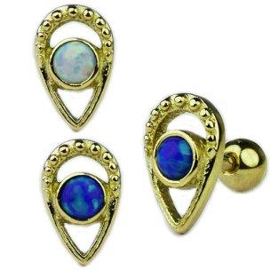 Tropfen mit synth. Opal Ohr Helix Piercing Stecker Rose Gold Silber