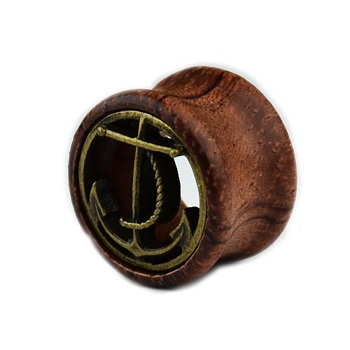 Holz Tunnel Anker double flared Ohr Plug