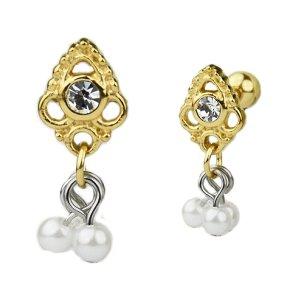 Ornament mit Perlen Anhänger Ohr Helix Piercing Stecker Rose Gold Silber