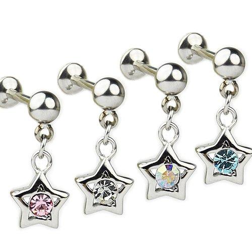 Ohr piercing Stern mit Glitzer Aqua, Rosa und Klar