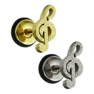 Ohr Piercing Notenschlüssel Fake Plug