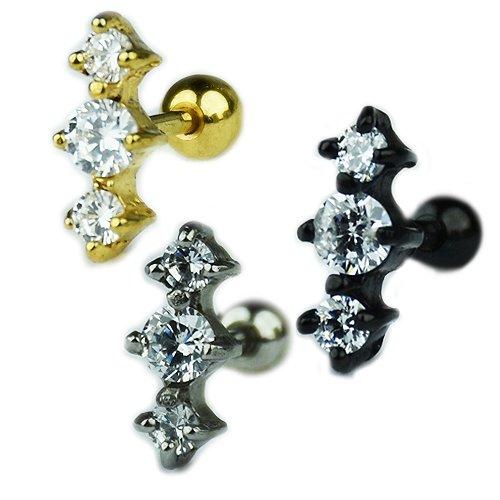 Ohr Stecker Kristalle Silber Gold Schwarz
