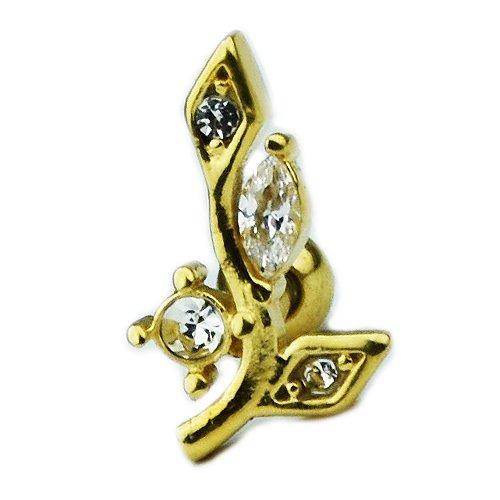 Gold Zweig mit Kristall Blättern Ohr Helix Piercing Stecker