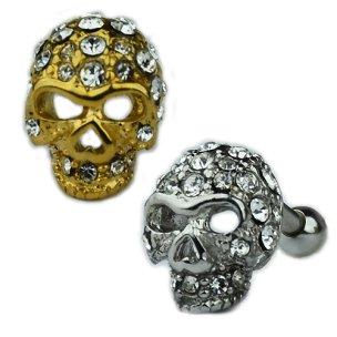 Silber Totenkopf mit Kristallen Ohr Helix Piercing...